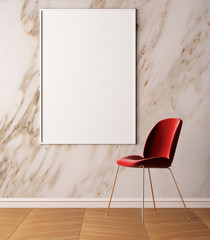 Mockup Poster in art deco style interior. Poster on the background of a marble wall. 3d illustration. 3d rendering.