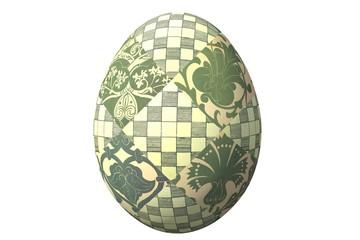 Зеленое пасхальное яйцо с фрагментами русских народных орнаментов