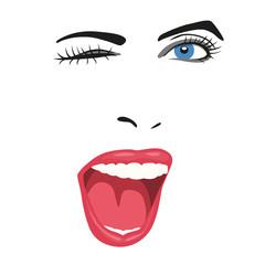 Clin d'œil - visage - femme - sourire - expression - portrait - regard - yeux - mode
