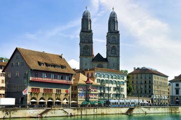 Limmatquai and Grossmunster Church of Zurich