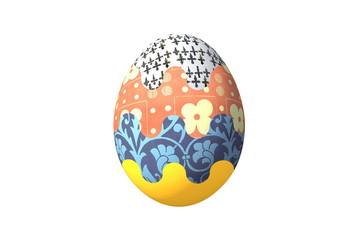 пасхальное яйцо с фрагментами русских народных орнаментов