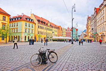 Obraz Rower na wrocławskim rynku - fototapety do salonu