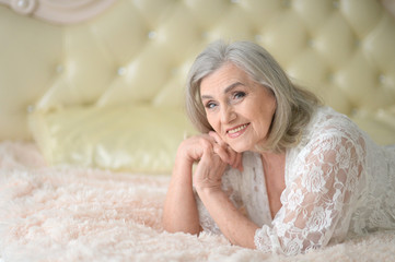Beautiful elderly woman close-up