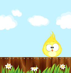 Canary sitting on a wooden fence. Cartoon bird Vector illustration eps 10.