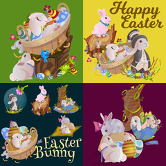 Set of easter egg hunt funny bunny with basket decorated flowers, cute rabbit happy spring season holiday tradition greeting card or banner collection vector illustration on white background
