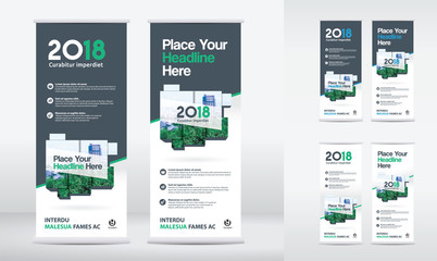 3 Color Scheme with City Background Business Roll Up Design Template Set. Flag Banner Design. Can be adapt to Brochure, Annual Report, Magazine,Poster, Corporate Presentation,Flyer, Website