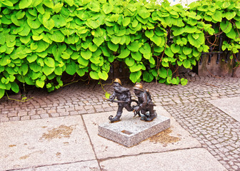 Small dwarf figurines as symbol of Wroclaw