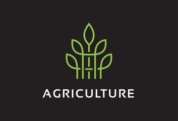 Monogram Agriculture Logo Template Design Vector, Emblem, Design Concept, Creative Symbol, Icon