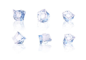Set of six transparent ice cubes