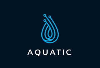Aquatic Logo Template Design Vector, Emblem, Design Concept, Creative Symbol, Icon