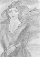 Woman's portrait by pencil on paper. Hand drawn illustration.