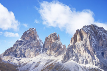 The Langkofel Group (in italian: Gruppo del Sassolungo) the massif mountain in the (western) Dolomites. View from Sella Pass. Italy, Europe.