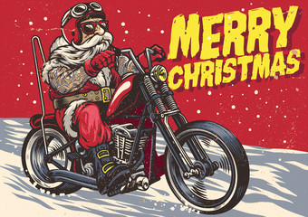 Senior Biker wear santa claus costume and riding a chopper motorcycle
