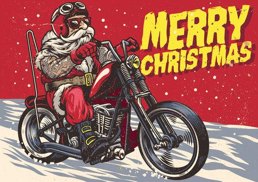 Senior Biker wear santa claus costume and riding a chopper motorcycle