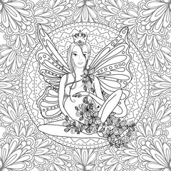 Adult coloring book page with fairy Pregnant lady with butterfly wings. Pregnancy in zentangle style art. Black and white, monochrome vector illustration or print design