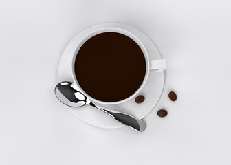 coffee with coffee beans top view 3D rendering