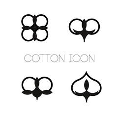 Set of isolated icons with a picture of cotton Can be used to design a logo, souvenirs, patterns, patches, labels Vector illustration