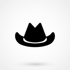Silhouette symbol of cowboy hat traditional symbol. Simple Vector Illustration