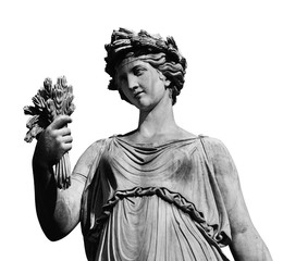 Wall Murals Historic monument Classical roman or greek goddess statue (isolated on white background)