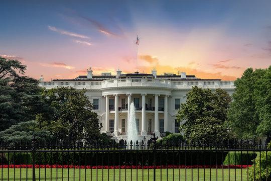 Washington White House on sunset background