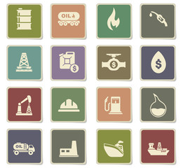extraction of oil icon set