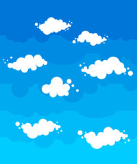 Blue Sky with clouds cartoon style. Nature background
