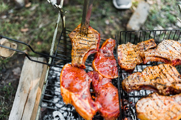 Flames on a Barbecue grill with lot of charcoal