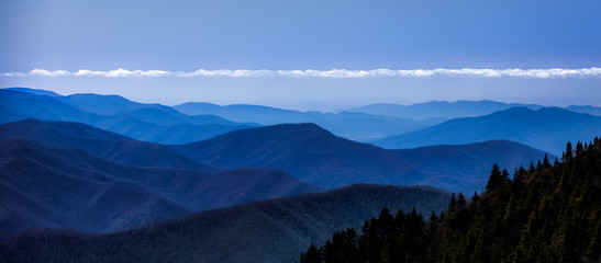 smokey mountain blue top with cloud line