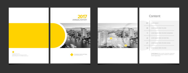 Cover design and content page template for corporate business annual report or catalog, magazine, flyer, booklet, brochure. A4 cover vector EPS-10 sample image with Gradient Mesh.