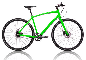 Green bicycle isolated on a white