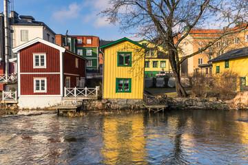 Norrtalje Sweden - April 1, 2017: Old town of Norrtalje, Sweden