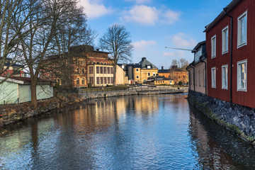 Norrtalje Sweden - April 1, 2017: Old town of Norrtalje, Sweden