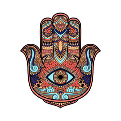multicolored illustration of a hamsa hand symbol. Hand of Fatima religious sign with all seeing eye. Vintage boho style. Vector illustration in doodle zen tangle style