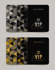 Template golden and platinum VIP card. Vector illustration.