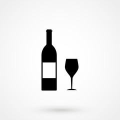 Wine bottle and wine glass silhouette isolated on white background. Vector icon or sign.