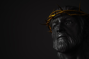 Jesus Christ Statue with Gold Crown of Thorns 3D Rendering
