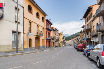 Cloudy view of  the street at Castelfollit de la Roca, La Garrotxa province, Catalonia, Spain.