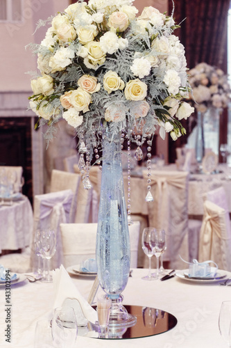 Luxury Wedding Decor With Flowers Of Roses And Hydrangea Closeup In