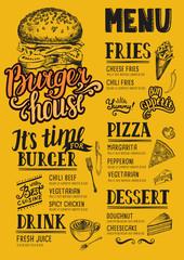Burger menu restaurant, food template.