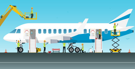 Aviation engineer workers are maintaining various aircraft systems.