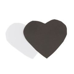 heart paper color black and white. isolated on white background