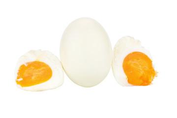 White egg. boiled egg.  isolated on white background