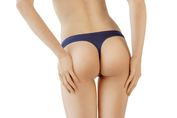 young healthy woman buttocks on white background. Sexy woman back in lingerie isolated. Sporty health female body on white background