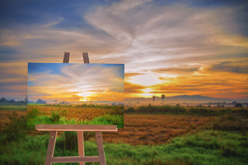 Oil painting the countryside