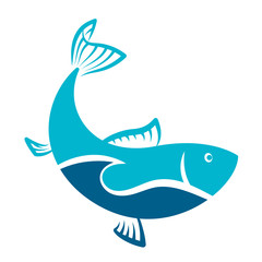 Fish blue symbol