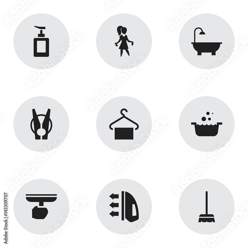 Set Of 9 Editable Dry Cleaning Icons Includes Symbols Such As Tub