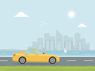 Yellow car rides on a highway on the background of skyscrapers. Banner concept design road trip. Travel by car.