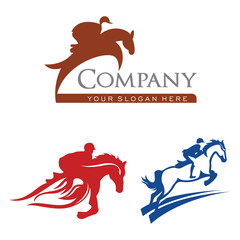 Horse Riding Racehorse Equestrian Isolated Logo Template