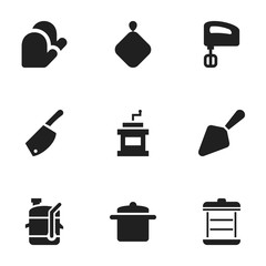Set Of 9 Editable Meal Icons. Includes Symbols Such As Boiler, Pot-Holder, Cookware And More. Can Be Used For Web, Mobile, UI And Infographic Design.