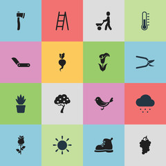 Set Of 16 Editable Agriculture Icons. Includes Symbols Such As Pot Bush, Lily, Ranunculus And More. Can Be Used For Web, Mobile, UI And Infographic Design.